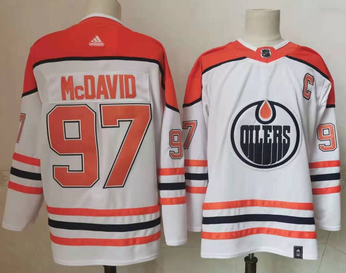 Oilers 97 Connor McDavid White 2020-21 Reverse Retro Adidas Jersey