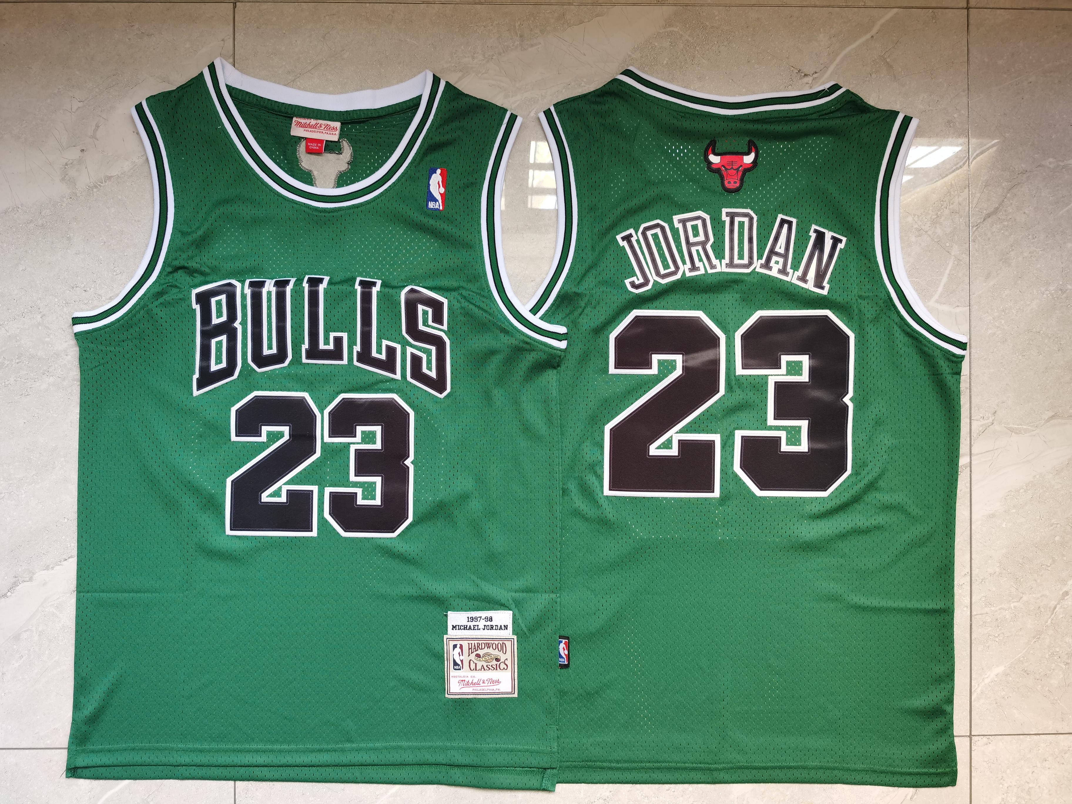 Bulls 23 Michael Jordan Green 1997 98 Hardwood Classics Swingman Jersey