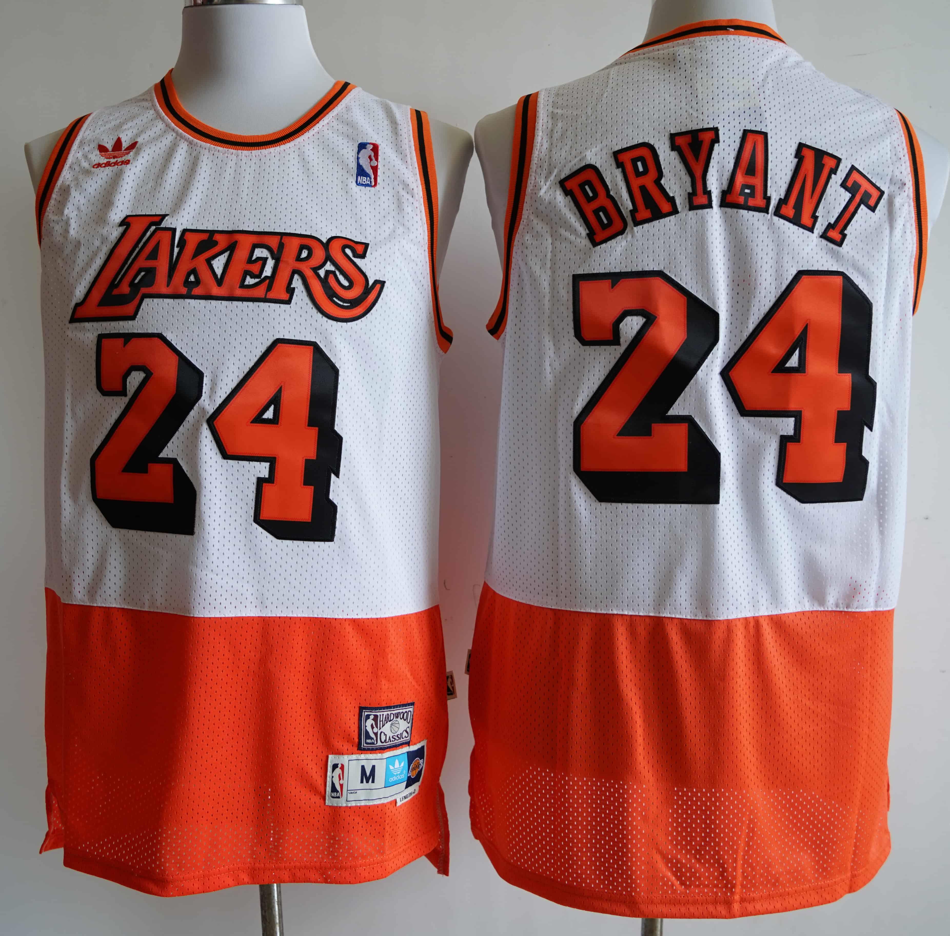 Lakers 24 Kobe Bryant White Orange Split Hardwood Classics Jersey