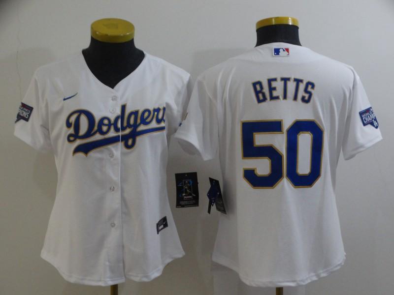 Dodgers 50 Mookie Betts White Women Nike 2021 Gold Program Cool Base Jersey