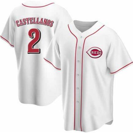 Reds 2 Nicholas Castellanos White Cool Base Jersey