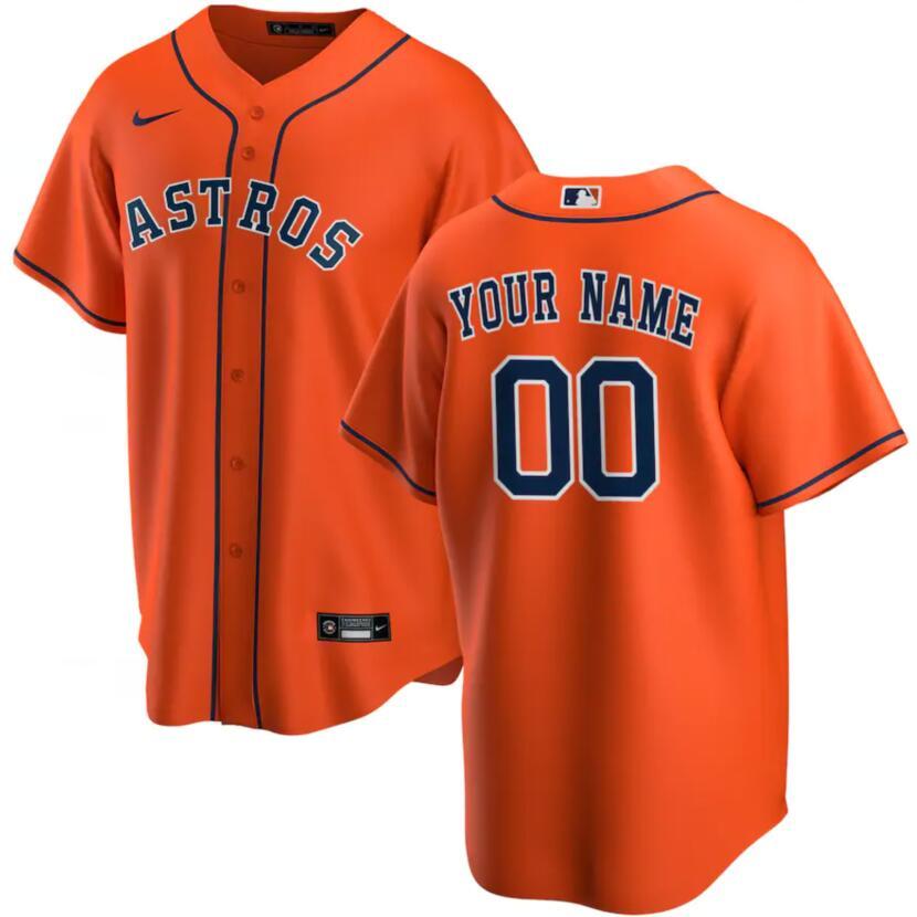 Astros Men's Customized Orange Nike Jersey