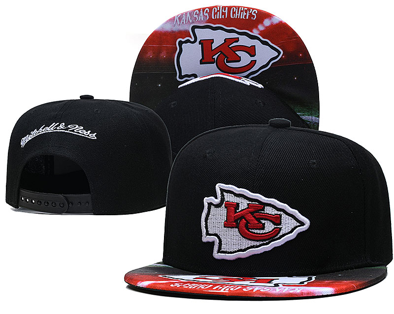 Chiefs Team Logo Black Mitchell & Ness Adjustable Hat LH