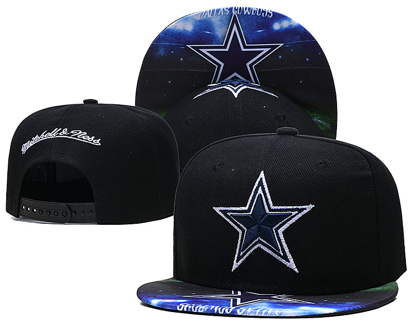 Cowboys Team Logo Black Mitchell & Ness Adjustable Hat LH