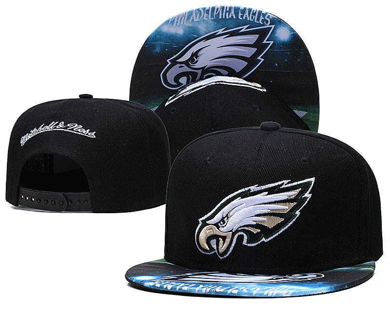 Eagles Team Logo Black Mitchell & Ness Adjustable Hat LH
