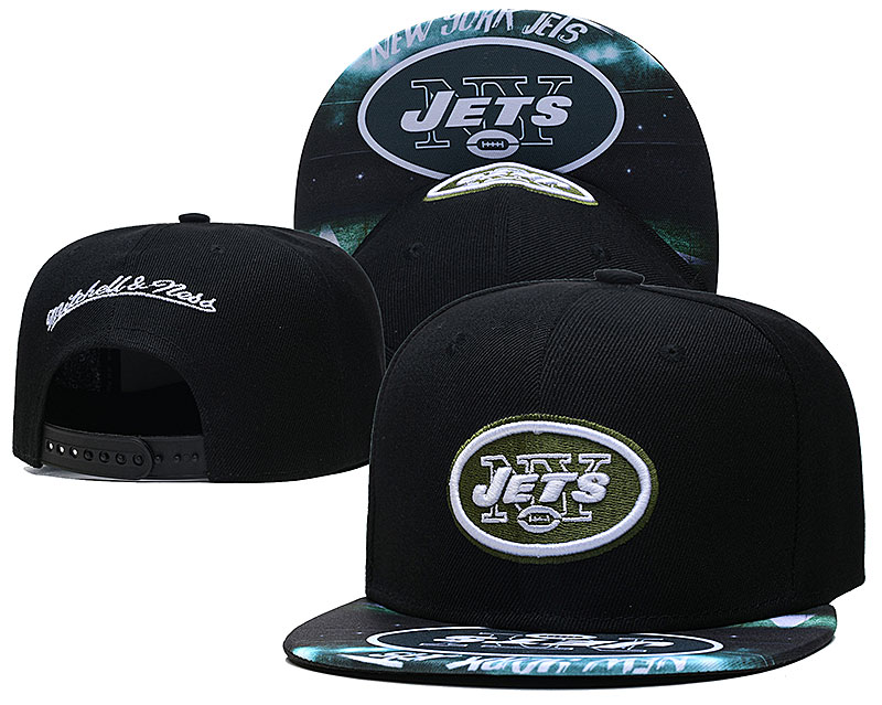 Jets Team Logo Black Mitchell & Ness Adjustable Hat LH