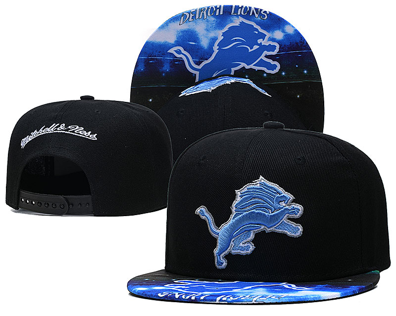 Lions Team Logo Black Mitchell & Ness Adjustable Hat LH