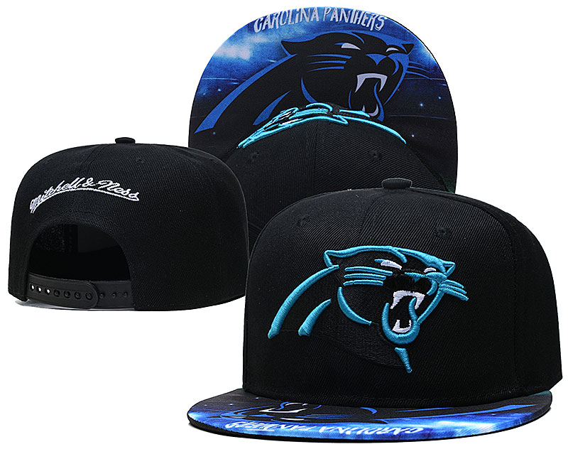 Panthers Team Logo Black Mitchell & Ness Adjustable Hat LH