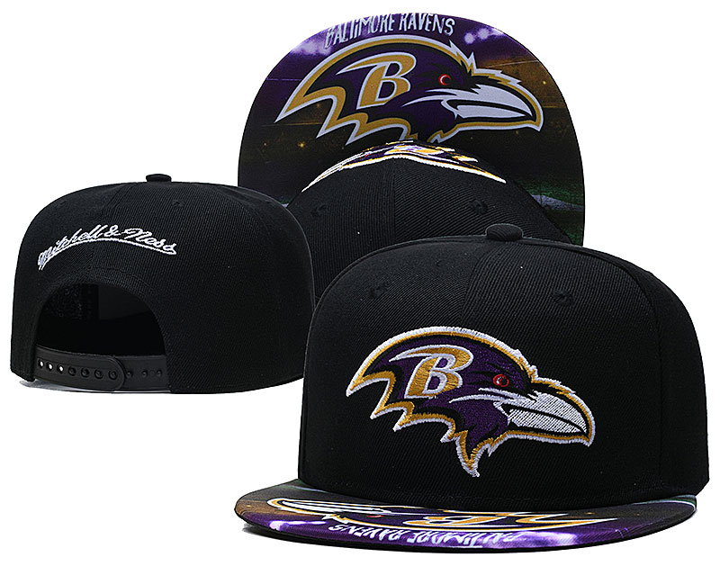Ravens Team Logo Black Mitchell & Ness Adjustable Hat LH