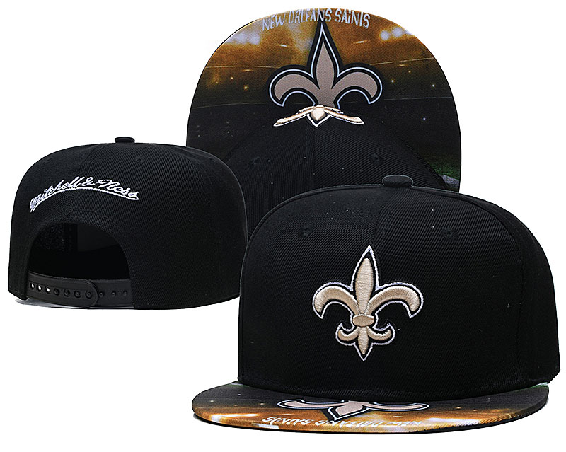 Saints Team Logo Black Mitchell & Ness Adjustable Hat LH