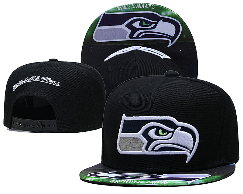 Seahawks Team Logo Black Mitchell & Ness Adjustable Hat LH