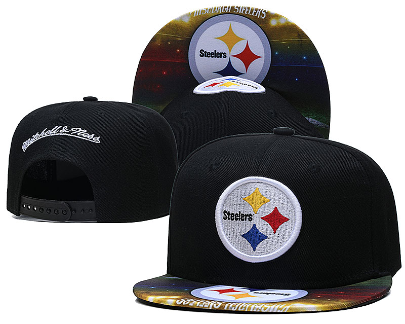 Steelers Team Logo Black Mitchell & Ness Adjustable Hat LH