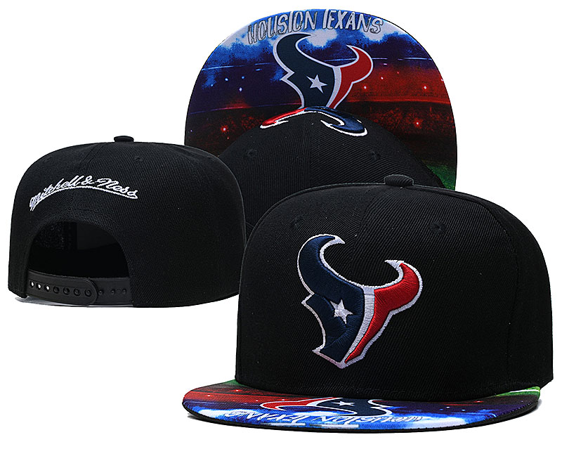 Texans Team Logo Black Mitchell & Ness Adjustable Hat LH