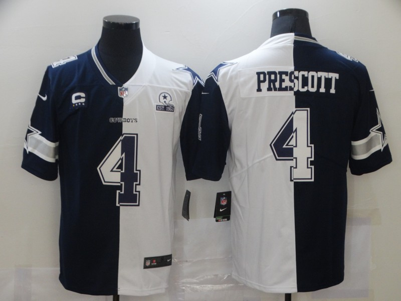 Nike Cowboys 4 Dak Prescott Black And White Split Est 1960 Patch Vapor Untouchable Limited Jersey