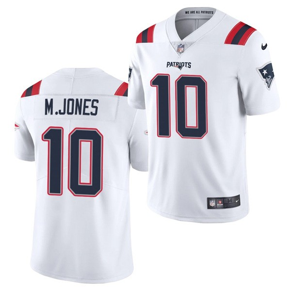 Nike Patriots 10 Mac Jones White 2021 Draft Vapor Limited Jersey