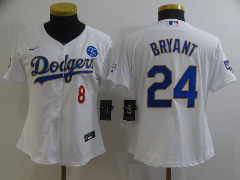 Dodgers 8 Kobe Bryant White Women Nike 2021 Gold Program KB Flexbase Jersey