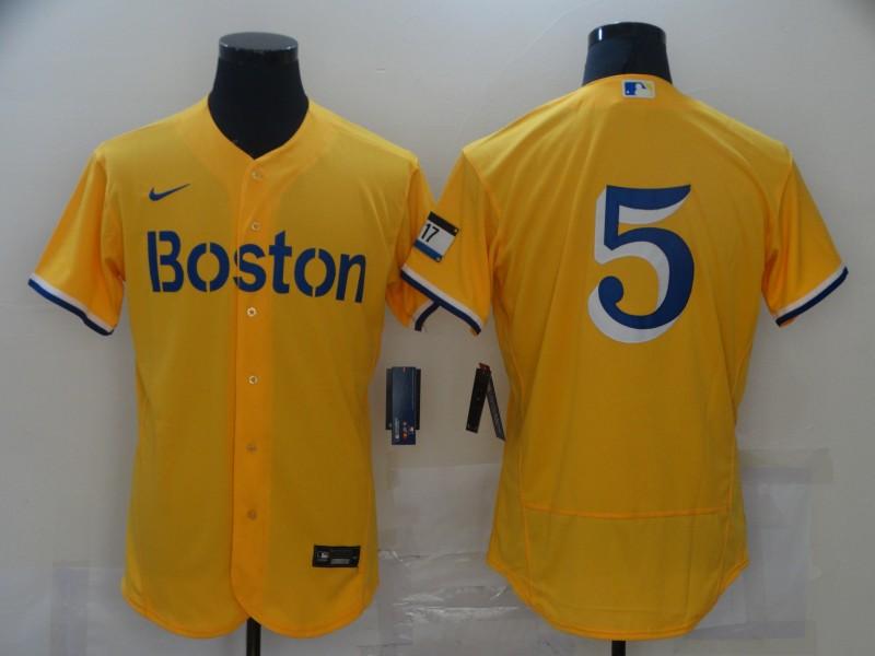 Red Sox 5 Enrique Hernandez Gold Nike 2021 City Connect Replica Player Flexbase Jersey