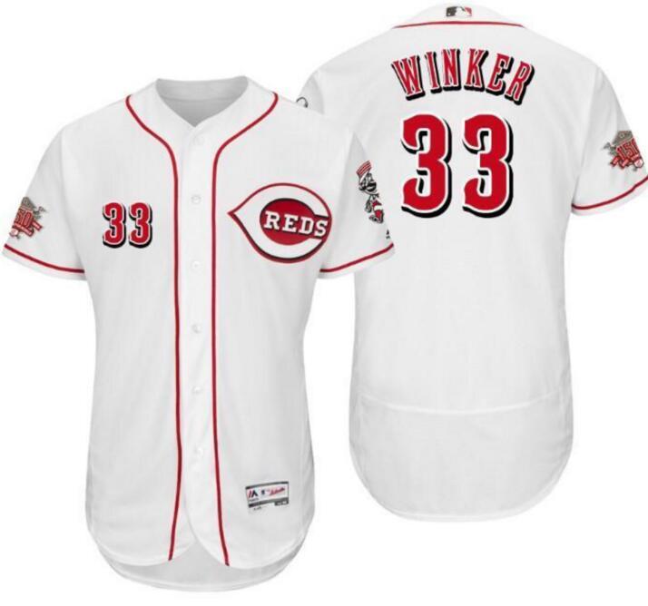 Reds 33 Jesse Winker White 150th Anniversary Flexbase Jersey