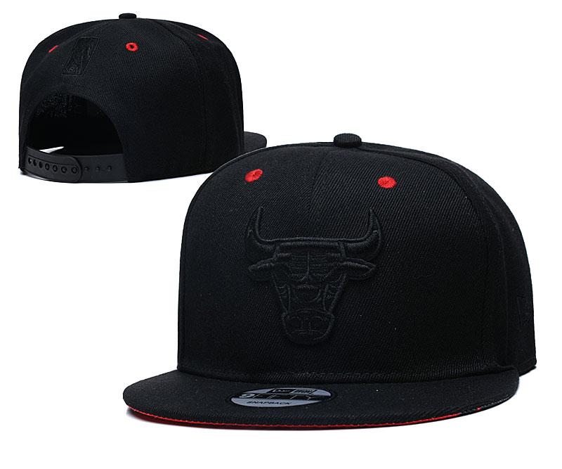 Bulls Team Logo All Black Adjustable Hat TX