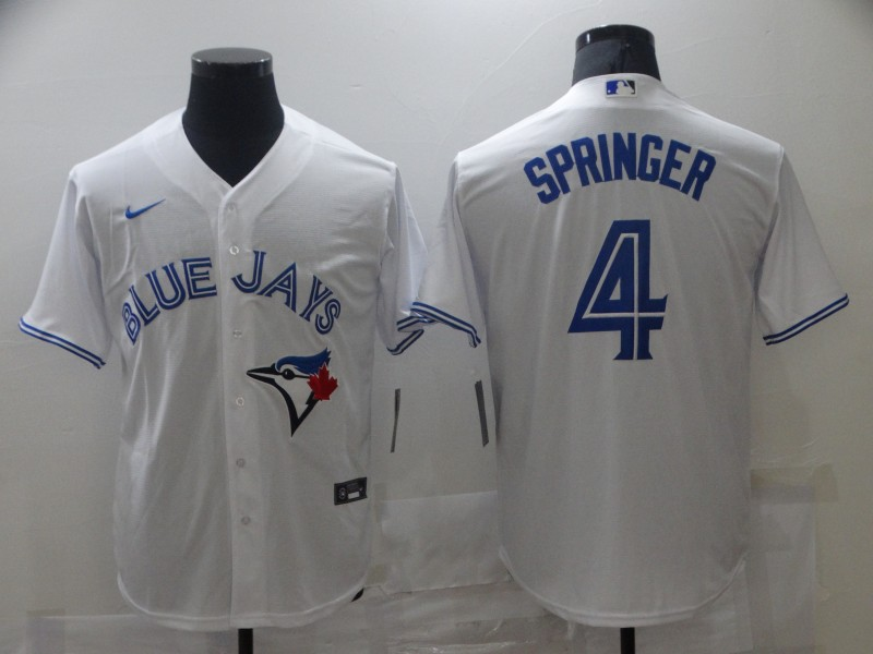 Blue Jays 4 George Springer White 2020 Nike Cool Base Jersey