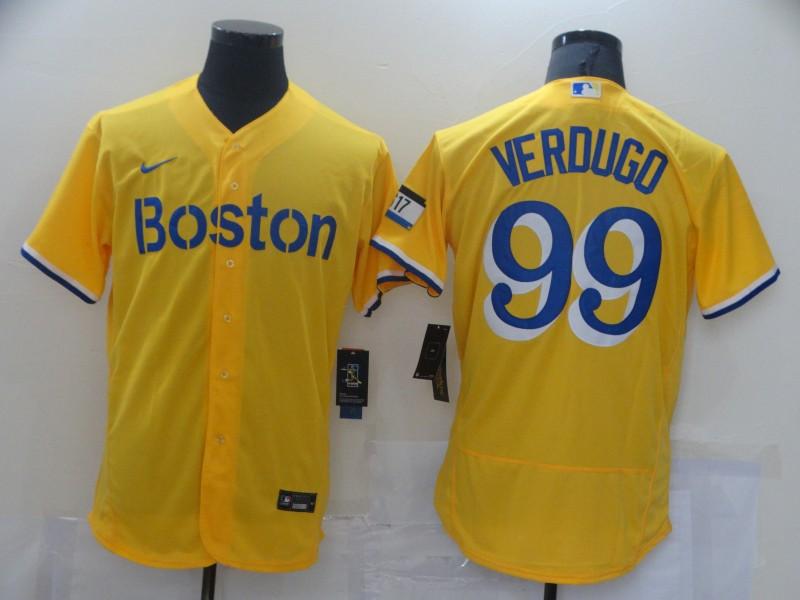 Red Sox 99 Alex Verdugo Gold Nike 2021 City Connect Replica Player Flexbase Jersey