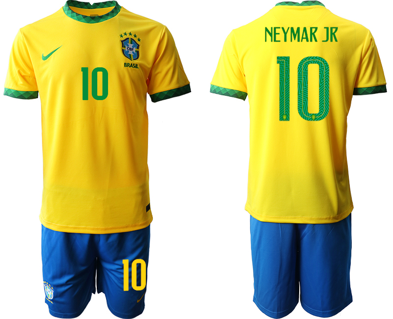 2020-21 Brazil 10 NEYMAR JR Home Soccer Jersey