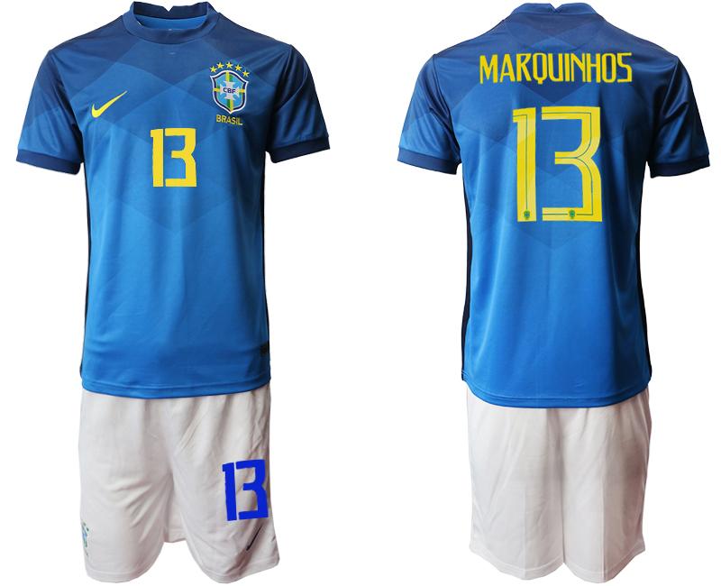 2020-21 Brazil 13 MARQUINHOS Away Soccer Jersey