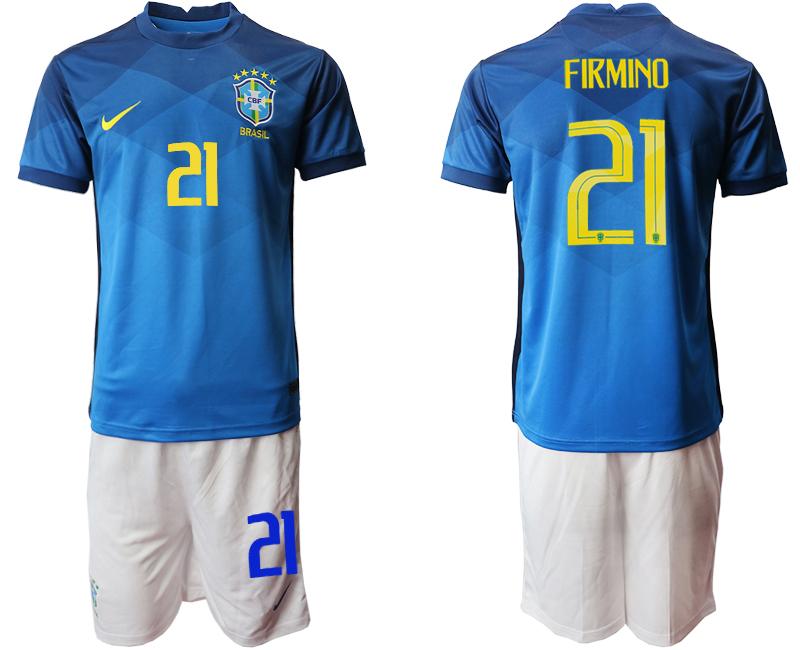 2020-21 Brazil 21 FIRMINO Away Soccer Jersey