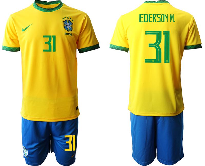 2020-21 Brazil 31 EDERSON M. Home Soccer Jersey