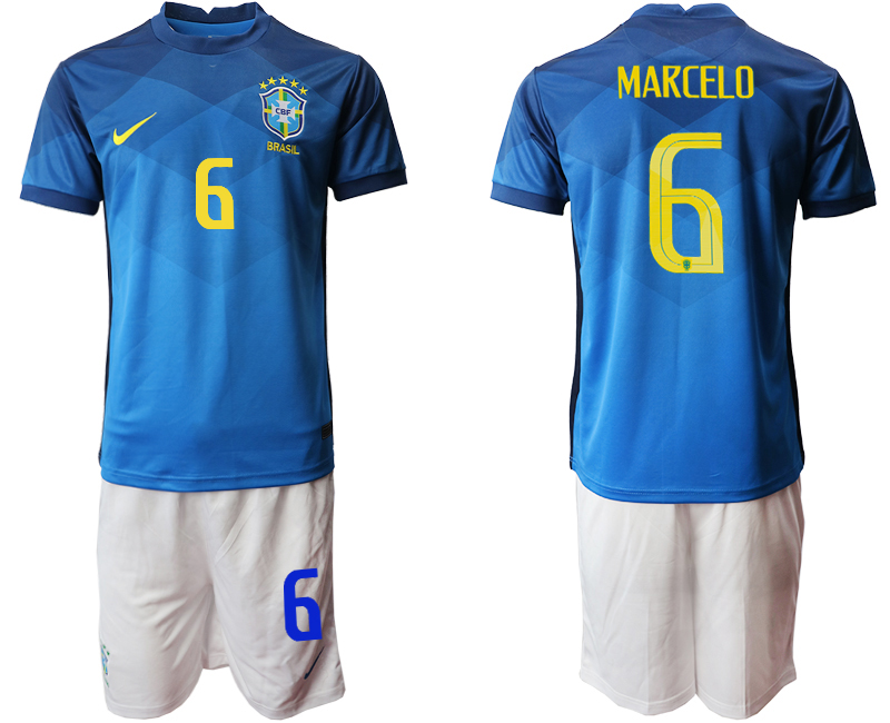 2020-21 Brazil 6 MARCELO Away Soccer Jersey