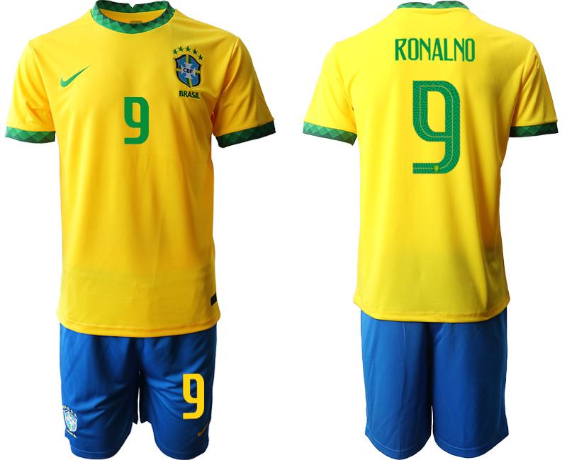 2020-21 Brazil 9 RONALNO Home Soccer Jersey