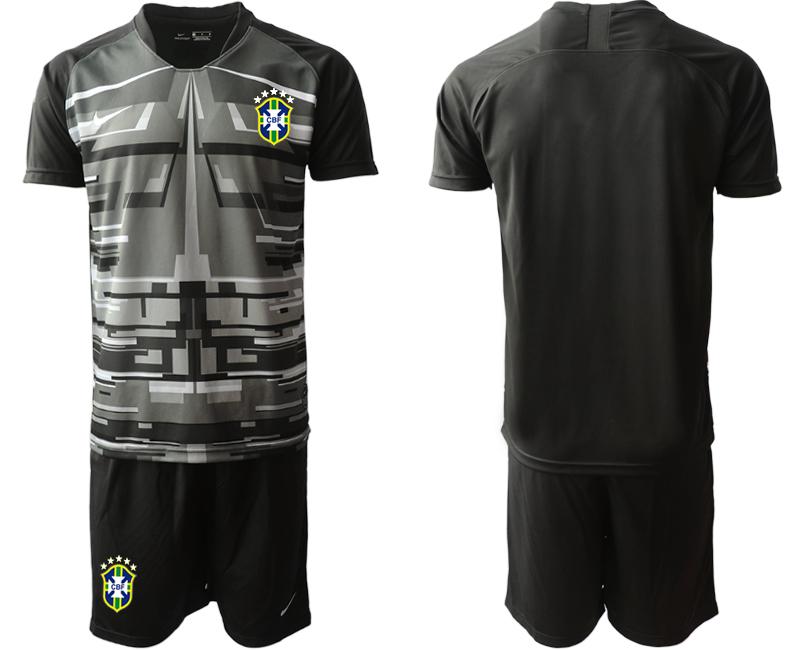 2020-21 Brazil Black Goalkeeper Soccer Jersey