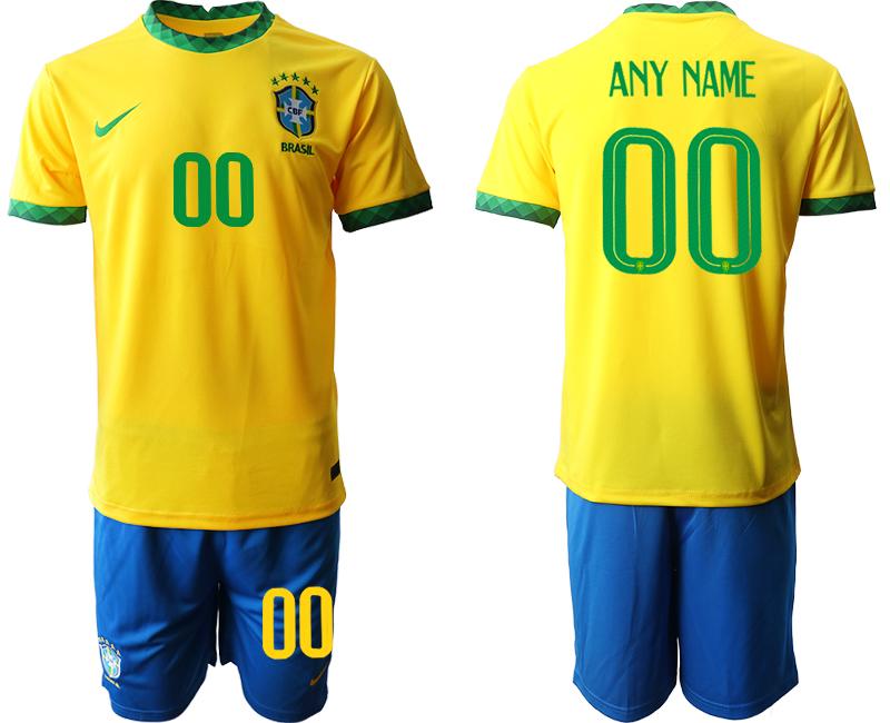 2020-21 Brazil Customized Home Soccer Jersey