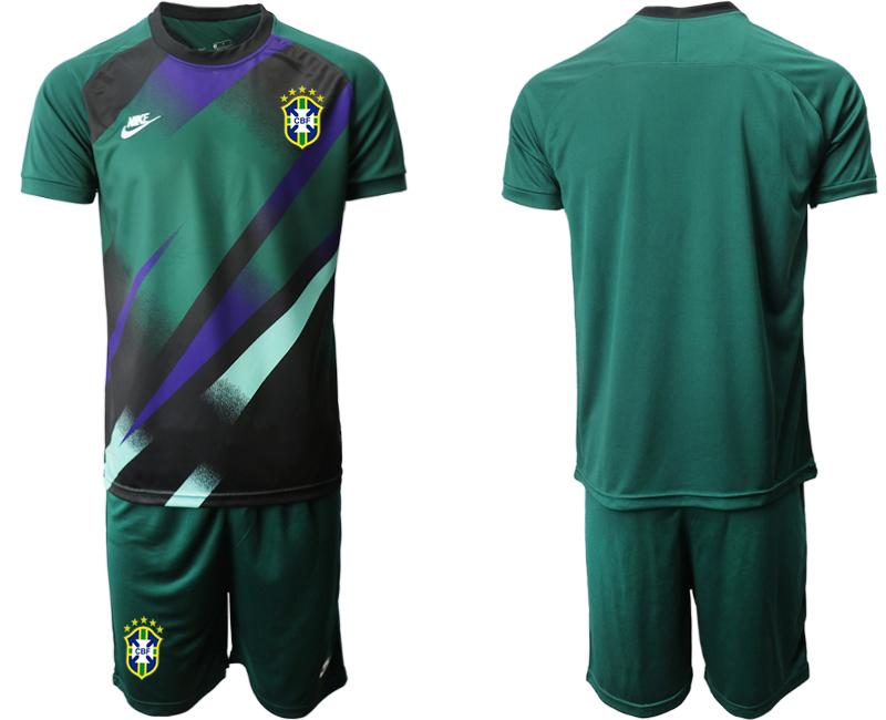2020-21 Brazil Green Goalkeeper Soccer Jersey