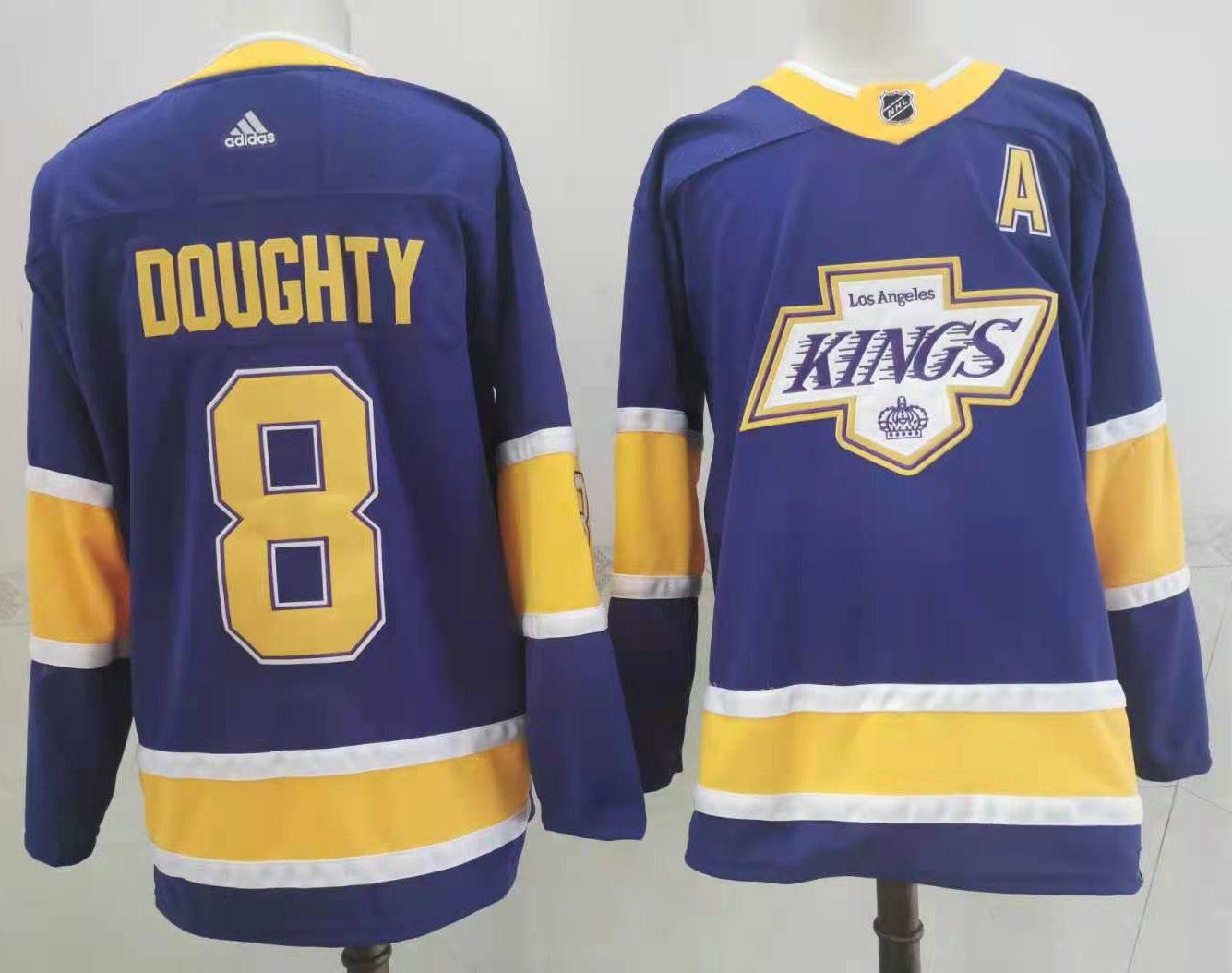 Kings 8 Drew Doughty Purple 2020-21 Reverse Retro Adidas Jersey
