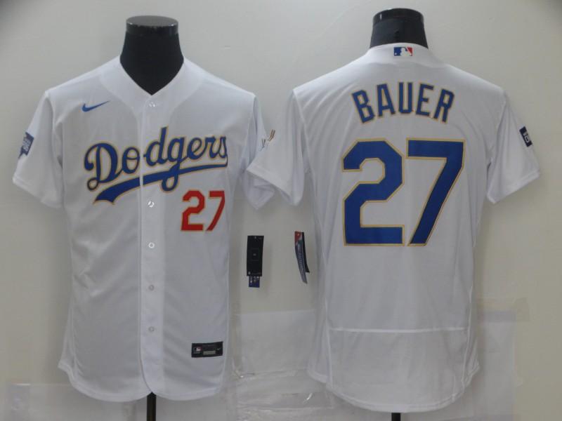 Dodgers 27 Trevor Bauer White Nike 2021 Gold Program Flexbase Jersey