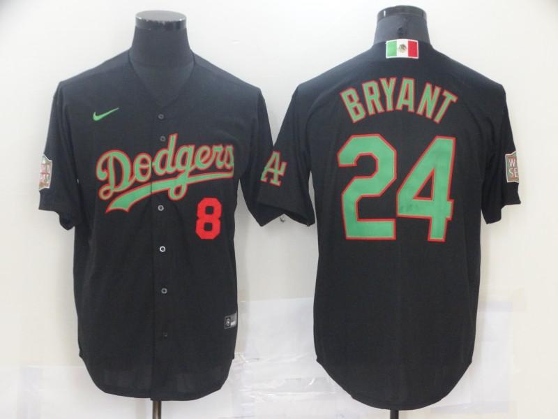Dodgers 8 & 24 Kobe Bryant Black World Series Nike Cool Base Jersey