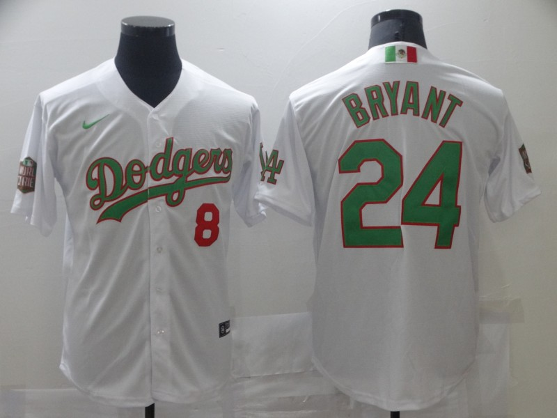Dodgers 8 & 24 Kobe Bryant White World Series Nike Cool Base Jersey