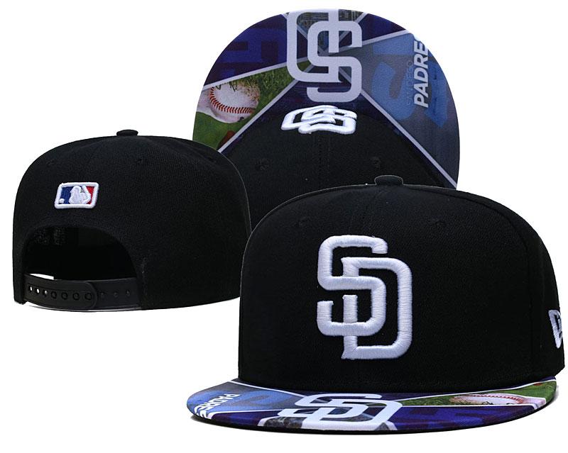 Padres Team Logos Black Adjustable Hat LH
