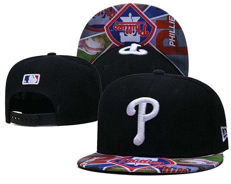 Phillies Team Logos Black Adjustable Hat LH