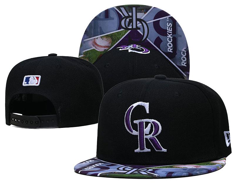 Rockies Team Logos Black Adjustable Hat LH