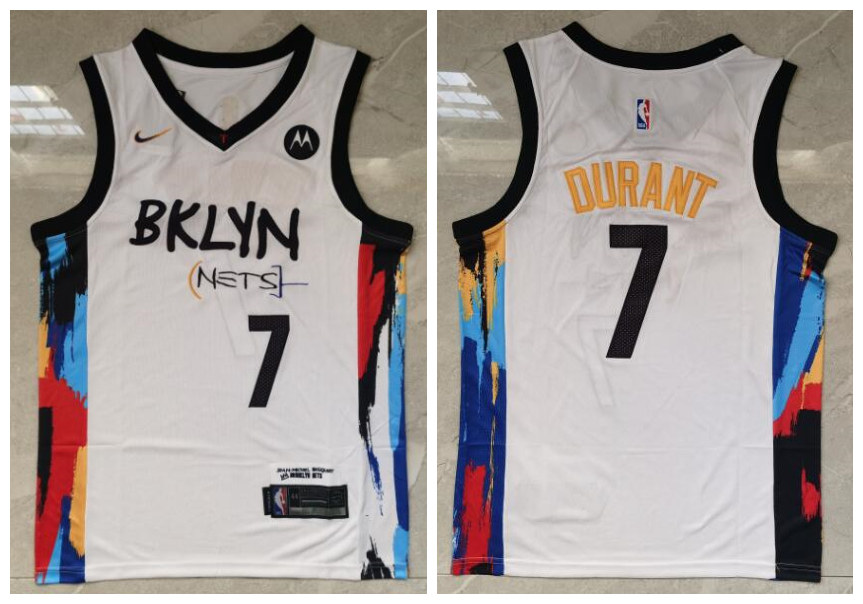 Nets 7 Kevin Durant White 2021 City Edition Nike Swingman Jersey