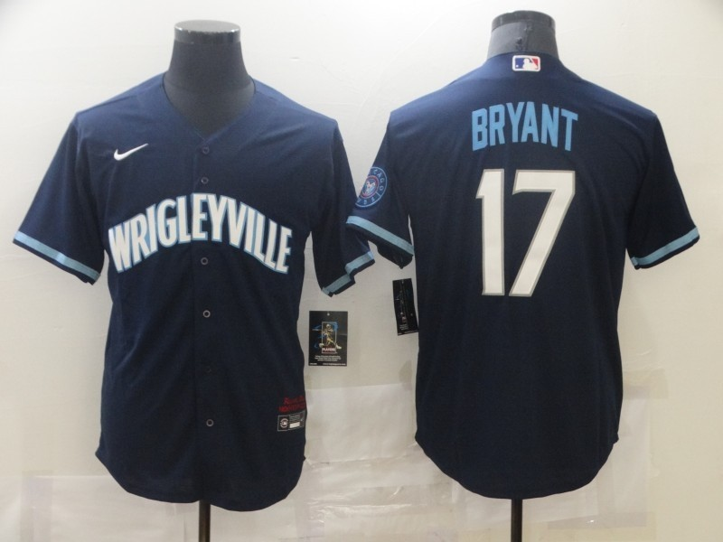Cubs 17 Kris Bryant Navy 2021 City Connect Cool Base Jersey