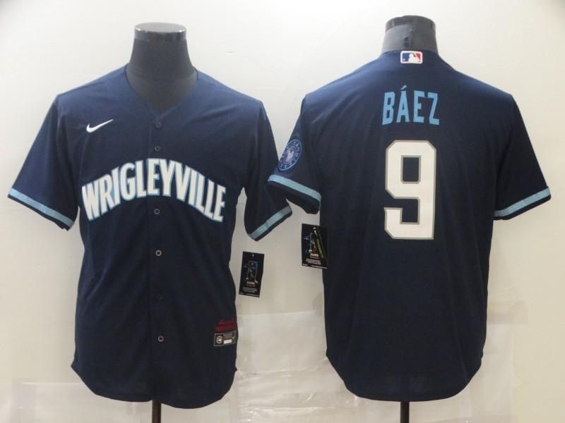 Cubs 9 Javier Baez Navy 2021 City Connect Cool Base Jersey