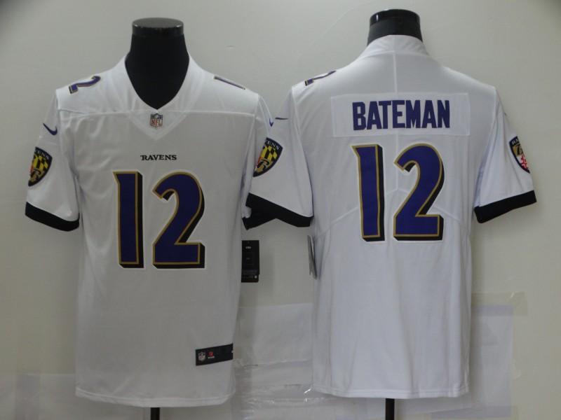 Nike Ravens 12 Rashod Bateman White 2021 NFL Draft Vapor Untouchable Limited Jersey