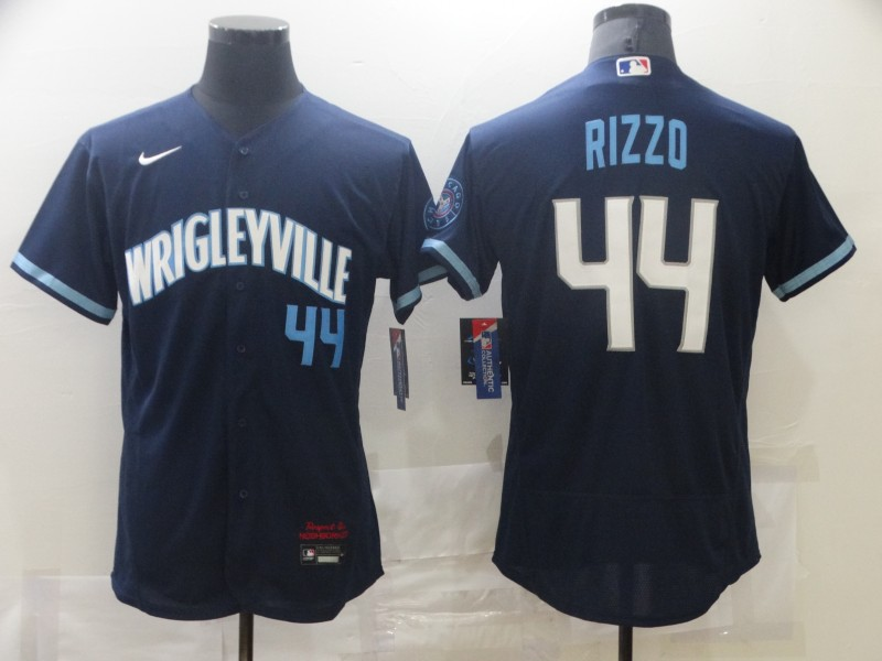 Cubs 44 Wrigleyville Rizzo Navy 2021 City Connect Flexbase Jersey