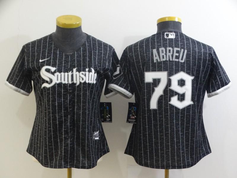 White Sox 79 Jose Abreu Black Women 2021 City Connect Cool Base Jersey