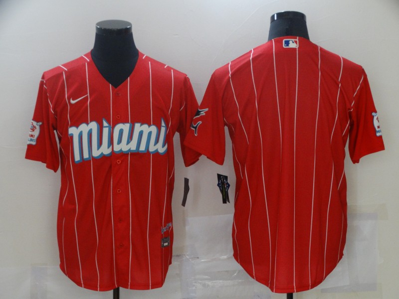 Marlins Blank Red 2021 City Connect Cool Base Jersey