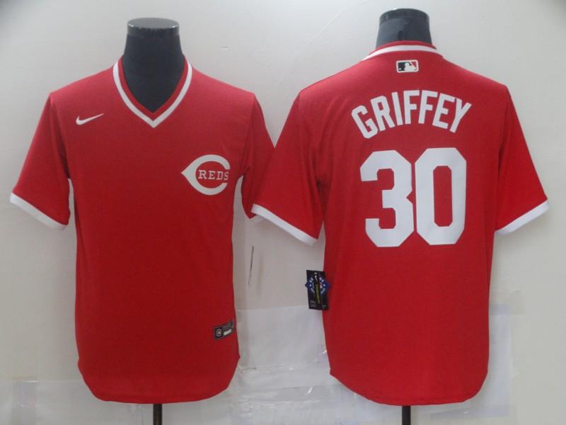 Reds 30 Ken Griffey Jr Red Nike Throwback Jersey