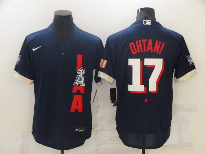 Angels 17 Shohei Ohtani Navy Nike 2021 MLB All-Star Flexbase Jersey